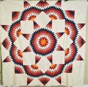 Vibrant 1880's Broken Star Quilt Top