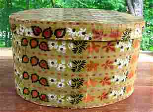 Large Wooden Band Box w/Hand Painted Wallpaper