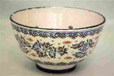 A red, blue and green Bristol delft steep sided punch