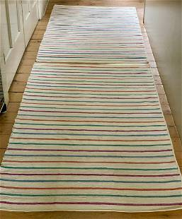 Pair of early 20th c Candy Stripe Rag Carpets