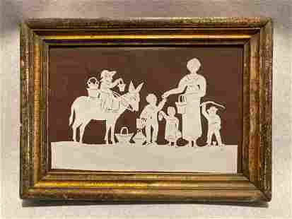 Early 19thc folk art cut paper figures with penciled
