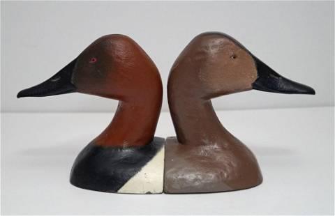Vintage Canvas Back Duck Decoys Cast Iron Bookends