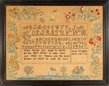 c.1828 Needlework Sampler from Antrim, NH by 14 year