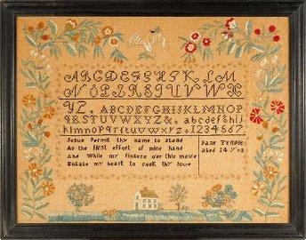 c.1828 Needlework Sampler from Antrim, NH by 14 year