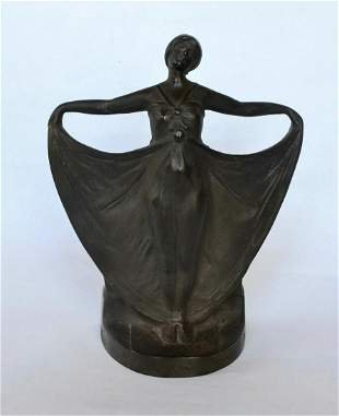 Art Deco Lady Cast Iron Doorstop with Bronze Finish