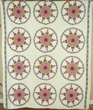Rare 30's 9-Pointed Star Wheel Quilt