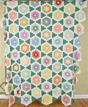 30's Flower Garden Stars Quilt Top