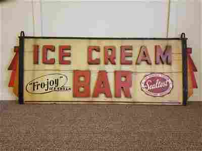 Wooden Carved Sealtest Ice Cream Sign With Art-deco