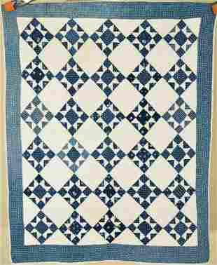 1870's Indigo Blue Stars Crib Quilt