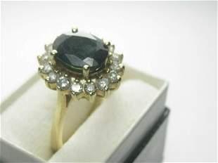 4kt Deep Blue Spinel Diamond Ring, Halo, Sz. 6, 4.89