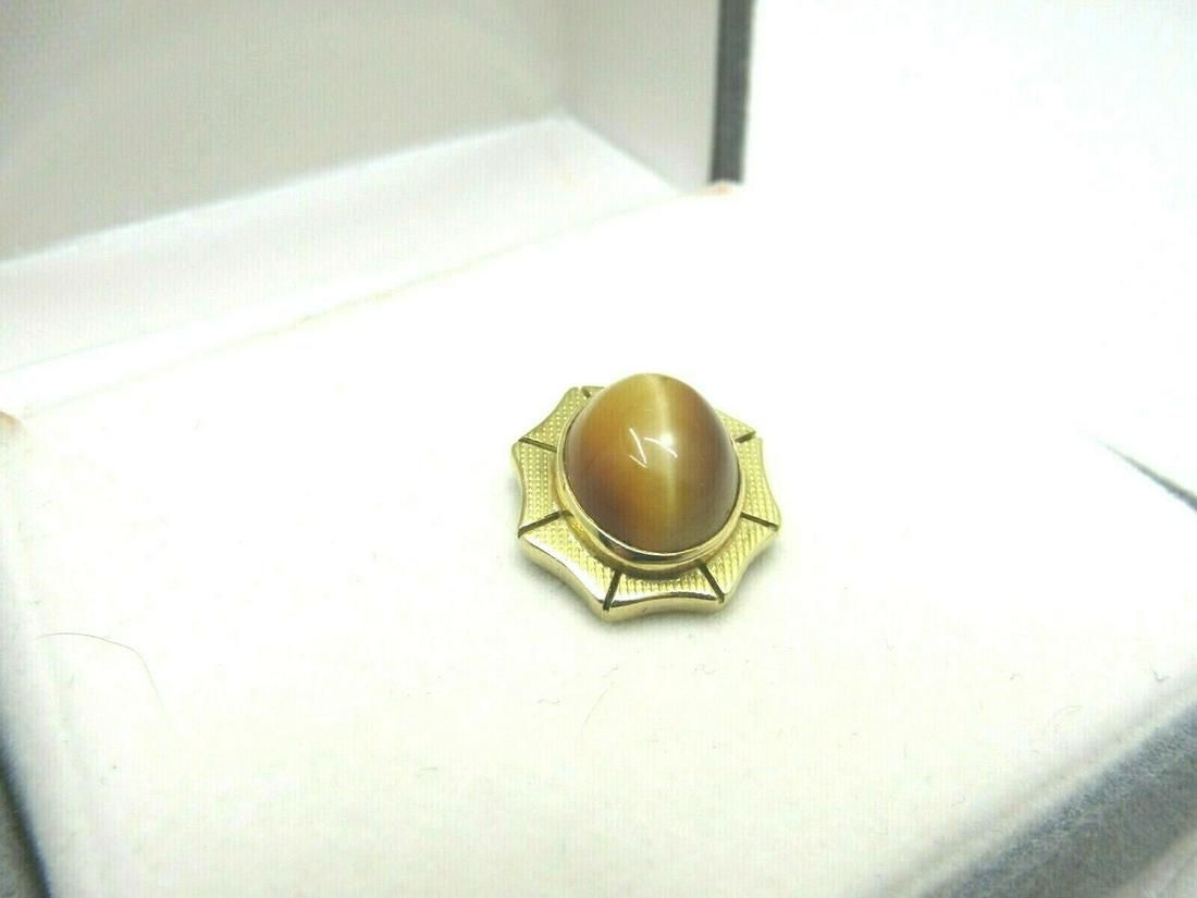 Vintage 14kt Gold Cat's Eye Tie Tack, Bar Chain, 2.19