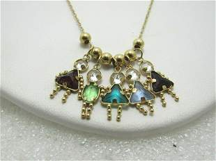"""14kt Birthstone Charm Necklace, Mother's, 18"""", 1mm"""