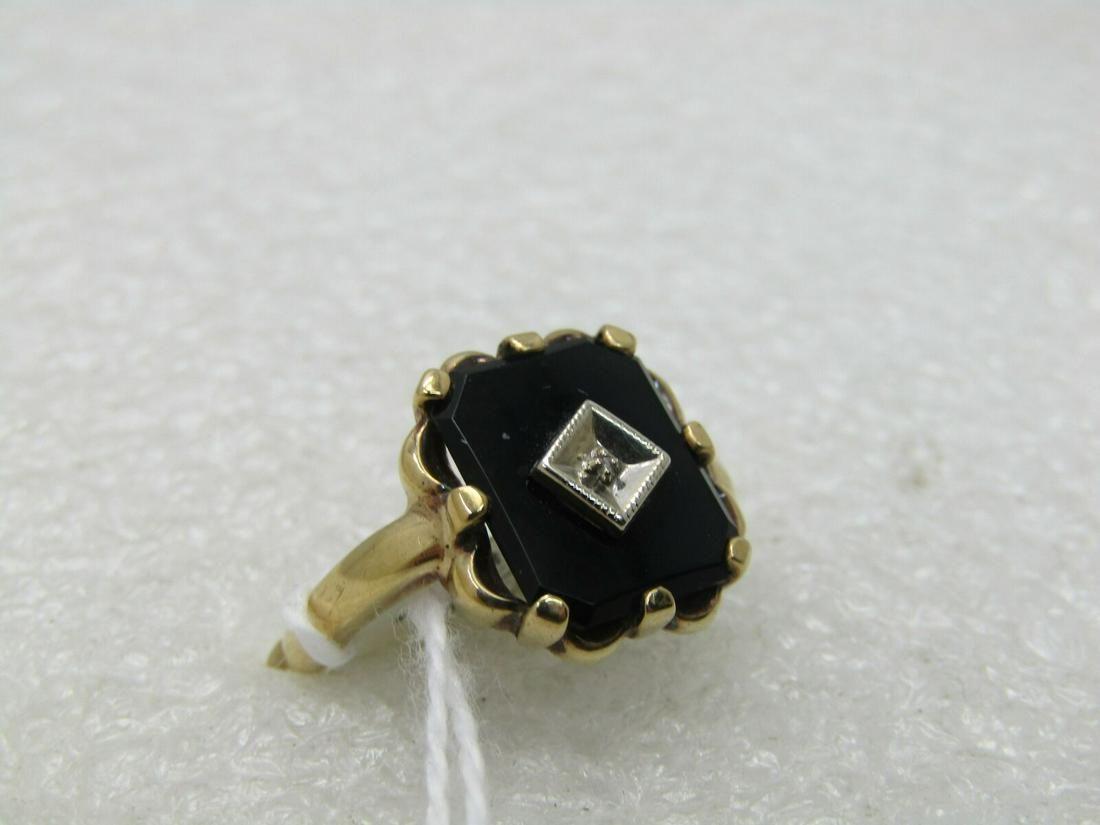 Vintage 10kt Black Onyx Art Deco Themed Ring, Sz. 7.5