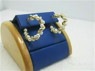 """10kt Pearl Hoop Pierced Earrings, 1-1/8"""", 4.60 gr.,"""
