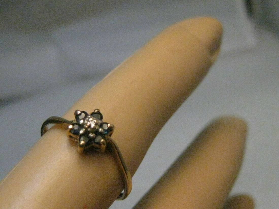 Vintage 10kt Blue Spinel Ring with Diamonds, Blossom
