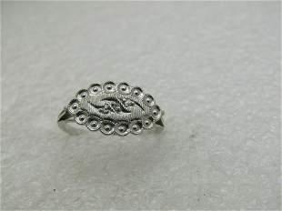 Vintage 14kt White Gold Art Deco Ring, Sz. 7, Signed