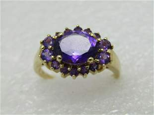 Vintage 10kt Amethyst Halo Ring, Multi-Stone, Appx. 2.5