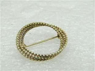 """Vintage 10kt Triple Circle Brooch, 2.12 gr, 1"""", 1960's"""
