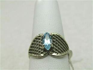 10kt Marquise Blue Topaz Woven/Mesh Ring, Sz. 7