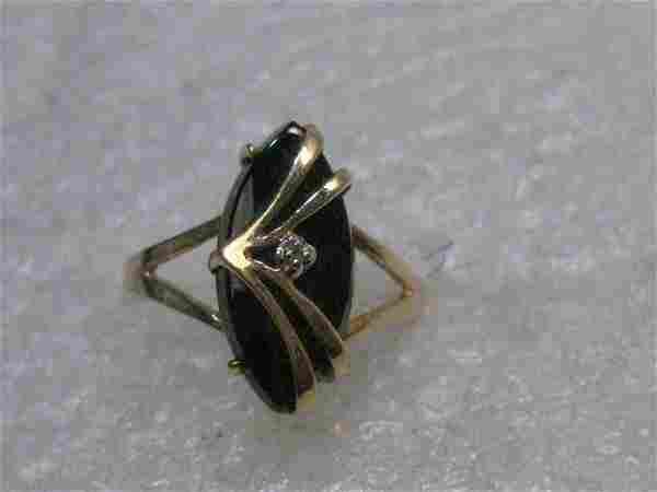 14kt Onyx & Diamond Wrapped Ring, Size 4.5, signed JBC,