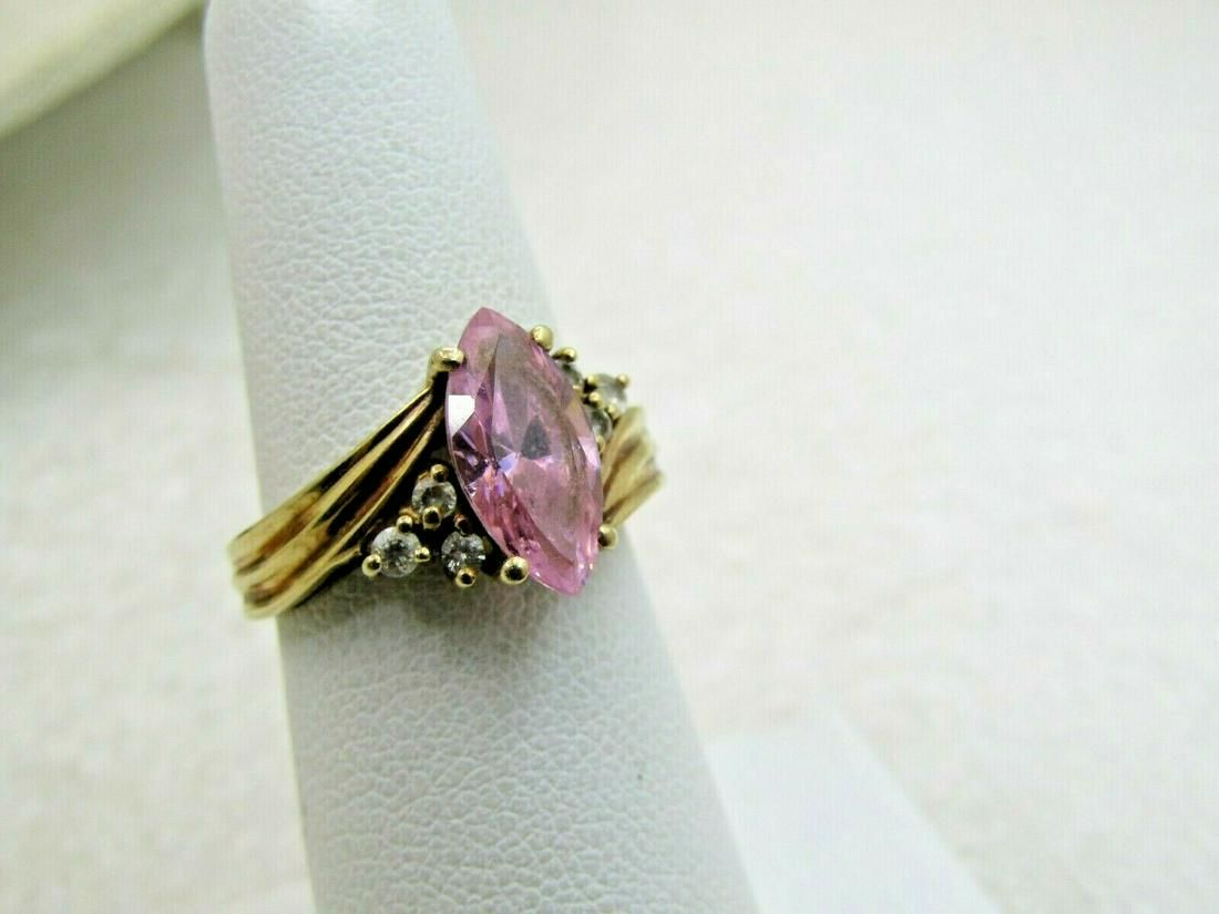 Vintage 10kt yellow gold pink topaz and CZ ring size