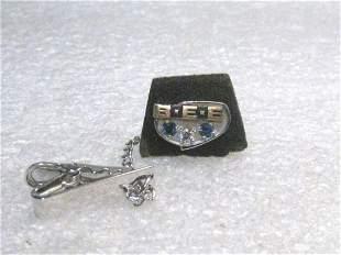 Vintage 10kt Diamond Sapphire BEE Tie Tack, Clasp,