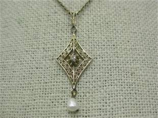 Victorian 14kt Diamond Filigree Necklace with Baroque