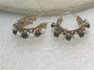 Vintage 10kt Beaded Hoop Pierced Earrings, Black/White