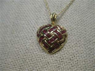 """14kt Solid Yellow Gold Ruby Woven Heart Necklace, 18"""","""