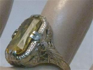 Vintage 14kt Art Deco Citrine Ring, Art Deco, Size 5.5,