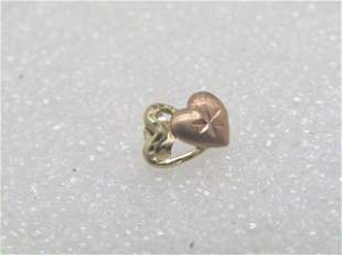 Vintage Single 14kt Double Heart Earring, Pierced, .15