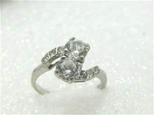 Vintage 14kt Bypass Engagement Ring, CZ/White Topaz, Sz