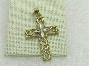 Vintage 14kt Two-Tone Gold Filigree Cross Pendant,