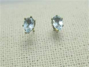 10kt Blue Topaz Pierced Earrings,Studs; , Pear-Shaped