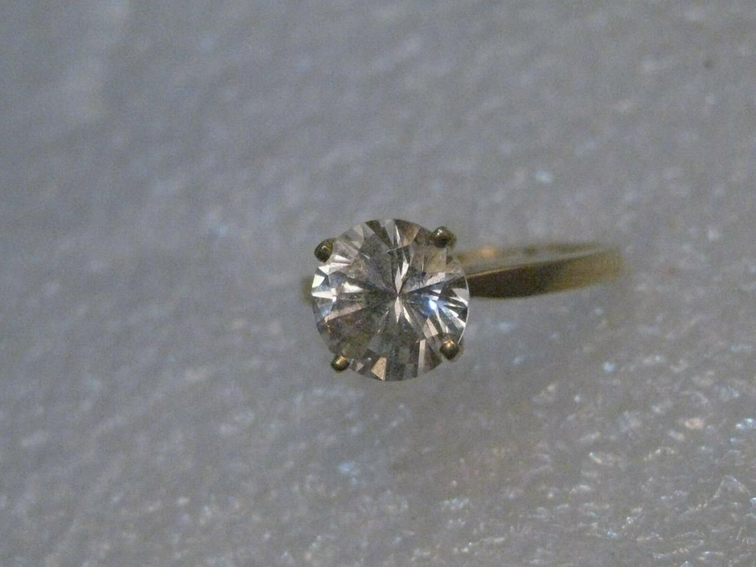 14kt Solid Yellow Gold CZ Engagement Ring, 1.5ctw, size