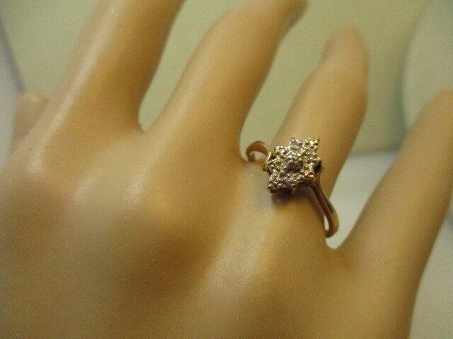 Vintage 10kt Gold Diamond Starburst Ring, sz. 8.5,
