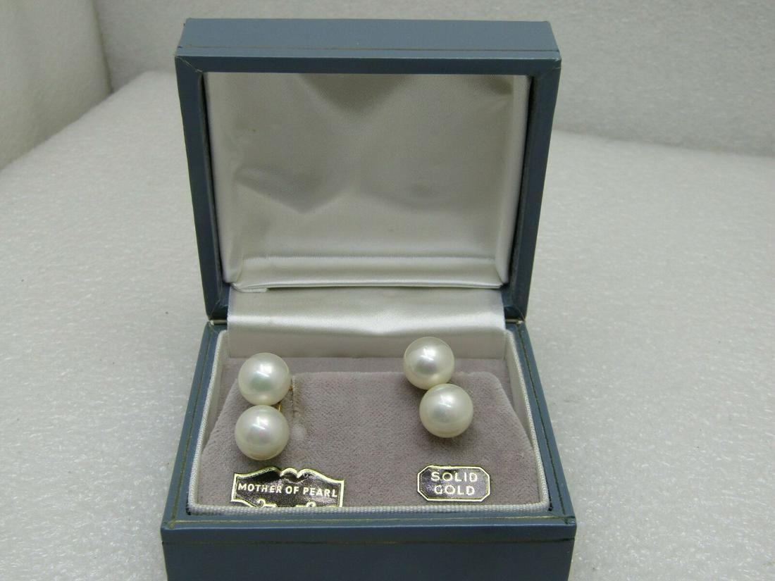 Vintage 10kt Double Pearl Earrings, Screw Back,