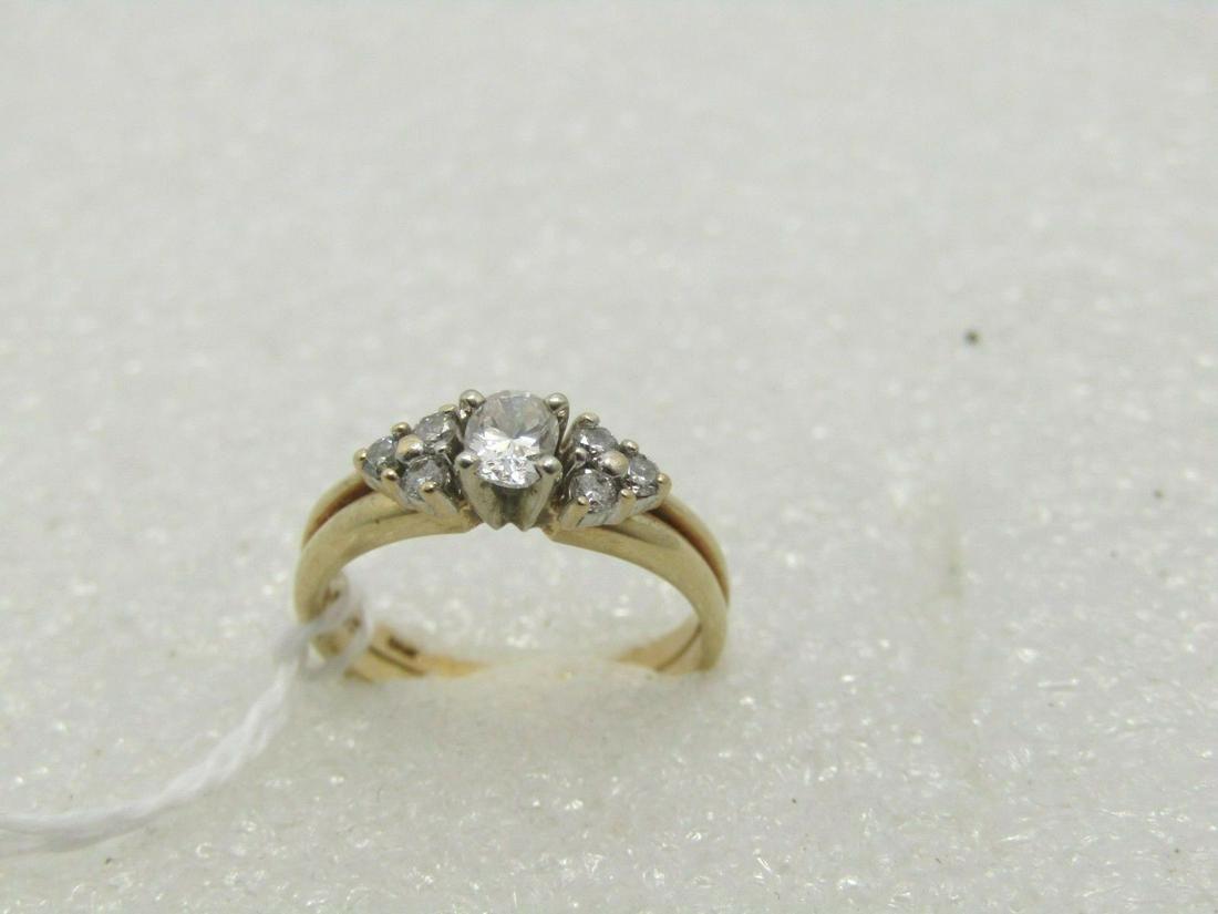 Vintage 14kt Multi Diamond Wedding Set, 4.5, .25 ctw