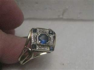 14kt Art Deco Sapphire Ring, Antique Filigree, size 8