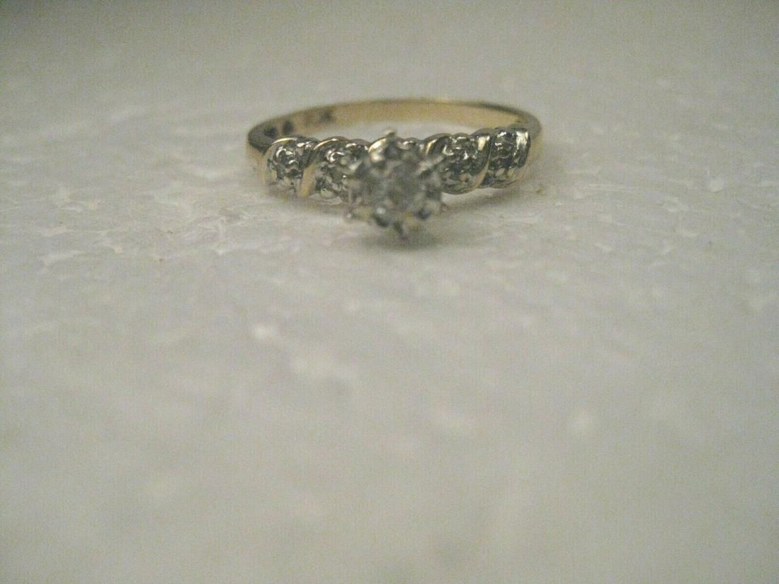 Vintage 10kt Gold Diamond Engagement Ring, Raised with