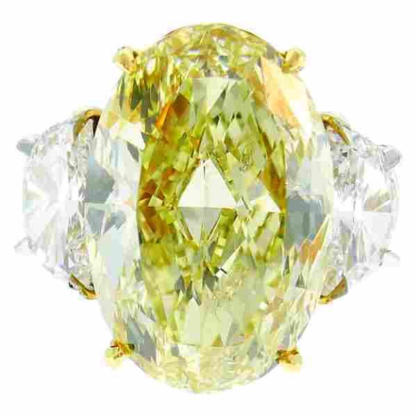.47 Carat Fancy Yellow Diamond GIA Platinum Ring