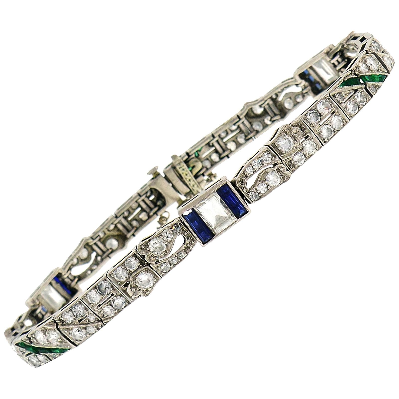 Art Deco Platinum Bracelet with Diamond Sapphire