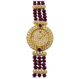 Boucheron Lady's Yellow Gold Diamond Ruby Quartz