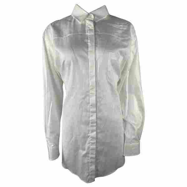 PRADA White Cotton Button Down Shirt Blouse, Size 40