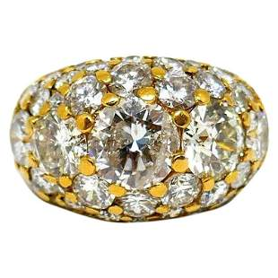 Vintage Yellow Gold Diamond Cocktail Dome Ring