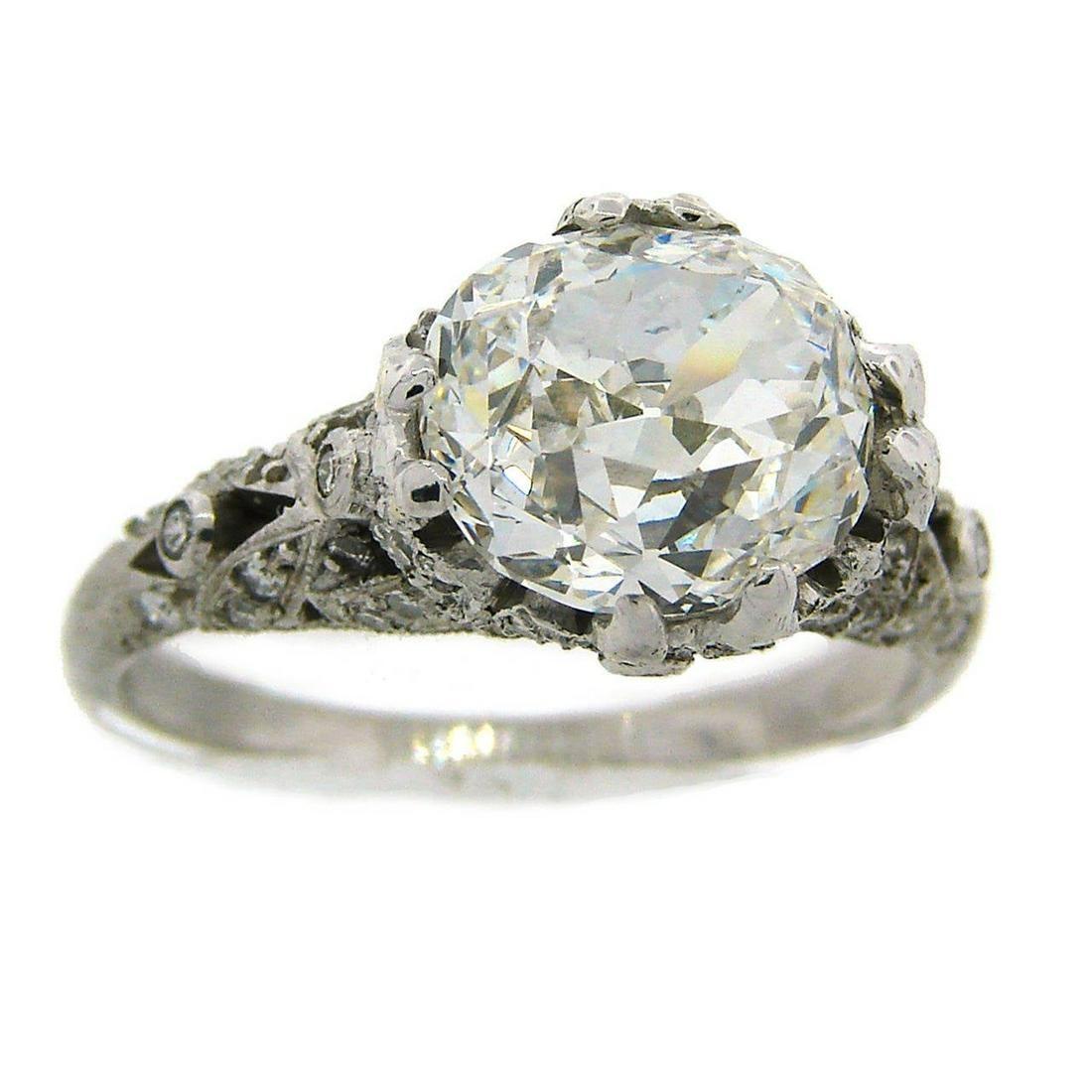 Cushion Cut Diamond Platinum Ring Art Deco circa 1920s