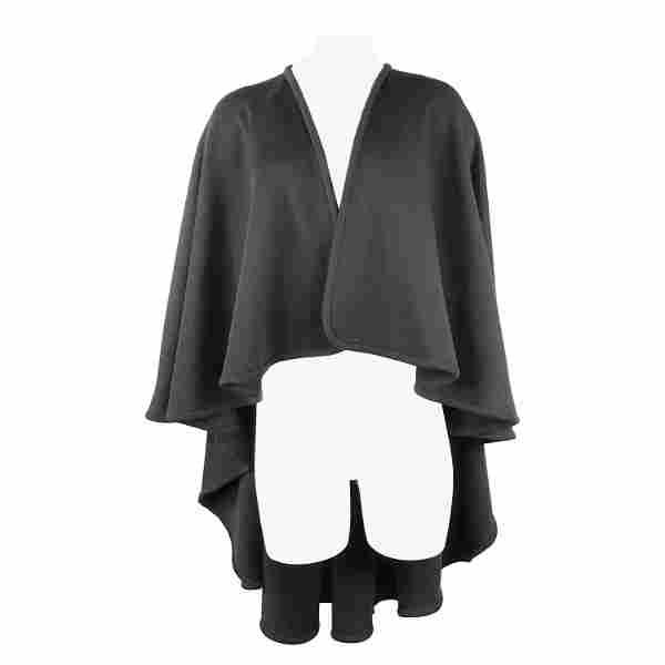 HALSTON Black Wool Poncho Cape One Size
