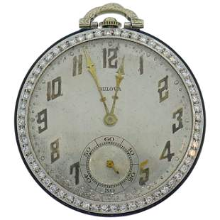 Art Deco Bulova Diamond Platinum Watch Pendant