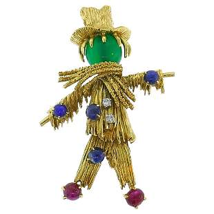 Van Cleef & Arpels Gold Scarecrow Brooch Pin Clip