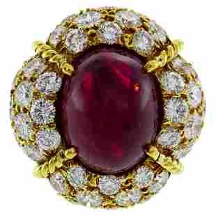 Van Cleef & Arpels Burmese Ruby Diamond Gold Ring, 1985